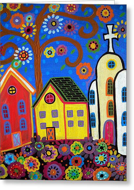 Carter House Greeting Cards - Mexican Town Greeting Card by Pristine Cartera Turkus
