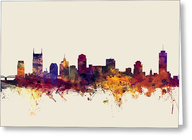 Nashville Tennessee Skyline Greeting Card by Michael Tompsett