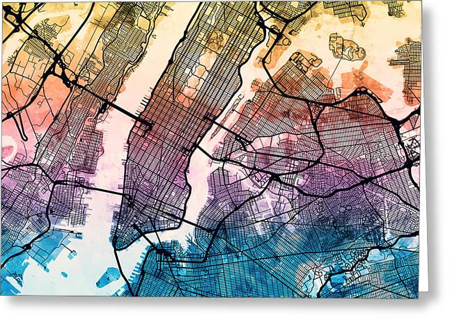 Nyc Posters Digital Greeting Cards - New York City Street Map Greeting Card by Michael Tompsett