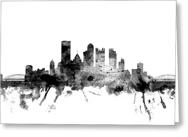 Pittsburgh Greeting Cards - Pittsburgh Pennsylvania Skyline Greeting Card by Michael Tompsett