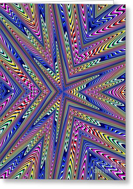 Star Line Greeting Cards - 6 Point Abstract Greeting Card by John Edwards
