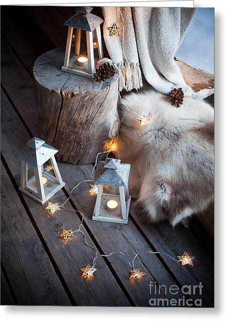Snowy Night Greeting Cards - Porch decoration Greeting Card by Kati Molin