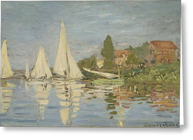 Sailboat Art Greeting Cards - Regattas at Argenteuil Greeting Card by Claude Monet