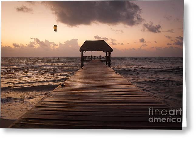 Kiteboarding Greeting Cards - Riviera Maya Greeting Card by Juan  Silva