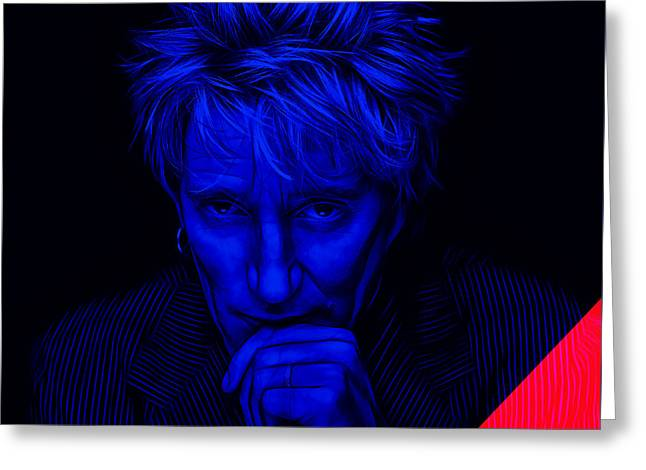 Celebrities Greeting Cards - Rod Stewart Collection Greeting Card by Marvin Blaine