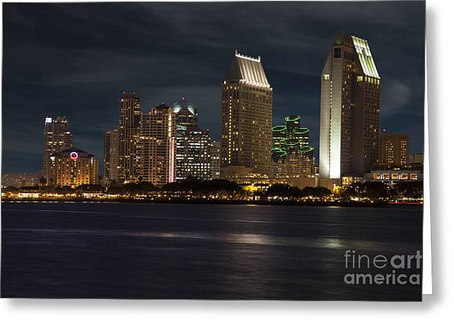 Coronado Harbor Greeting Cards - San Diego Skyline  Greeting Card by Timothy Johnson