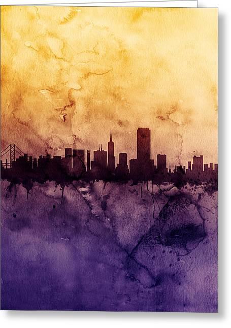 San Francisco City Skyline Greeting Card by Michael Tompsett