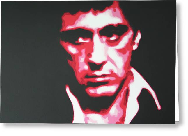 Cuban Refugee Greeting Cards - Scarface Greeting Card by Luis Ludzska
