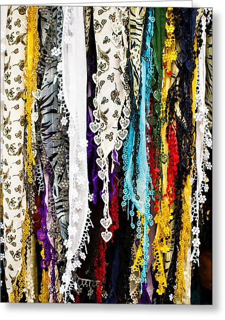 Black Veil Greeting Cards - Scarves Greeting Card by Tom Gowanlock