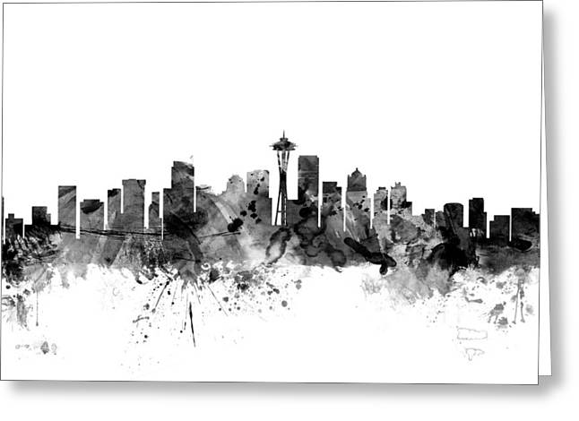 Seattle Skyline Greeting Cards - Seattle Washington Skyline Greeting Card by Michael Tompsett