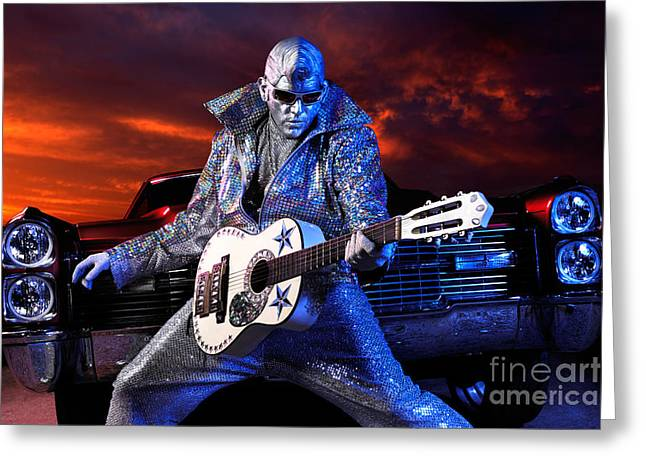 Auto-portrait Greeting Cards - Silver Elvis Greeting Card by Oleksiy Maksymenko