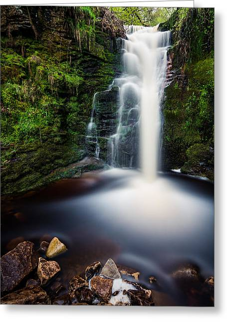 Tranquil Greeting Cards - Spring Waterfall In A Remote Peaceful Forest. Greeting Card by Daniel Kay