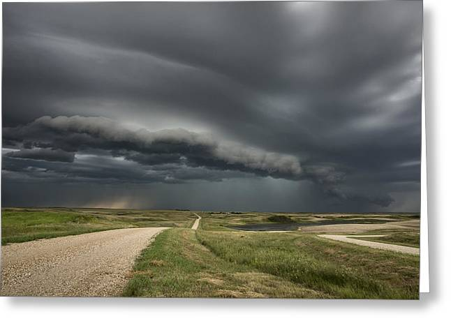 Gravel Road Greeting Cards - Storm Clouds Prairie Sky Greeting Card by Mark Duffy