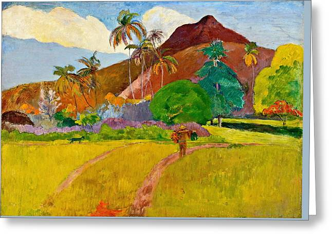 Gauguin Style Greeting Cards - Tahitian Landscape Greeting Card by Paul Gauguin