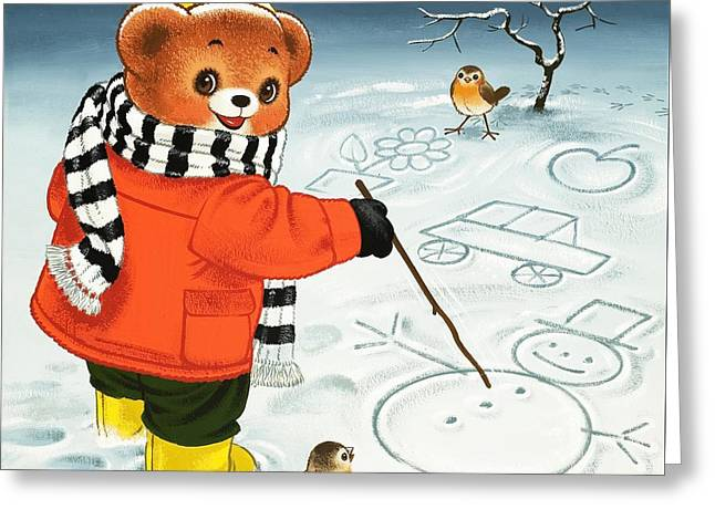 Tree Lines Drawings Greeting Cards - Teddy Bear Christmas Card Greeting Card by William Francis Phillipps