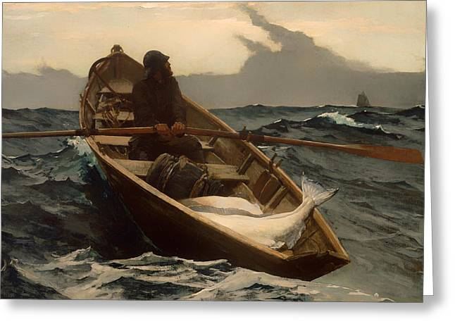 Foggy Ocean Paintings Greeting Cards - The Fog Warning Greeting Card by Winslow Homer