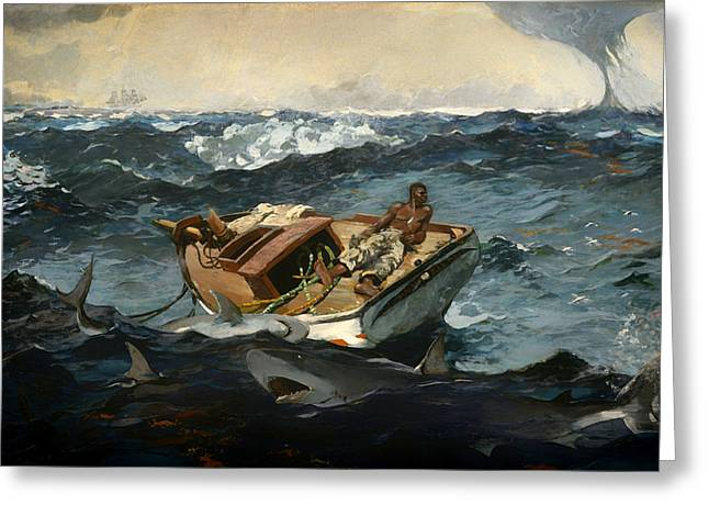 Storm. Rain. Oil On Canvas Greeting Cards - The Gulf Stream Greeting Card by Winslow Homer