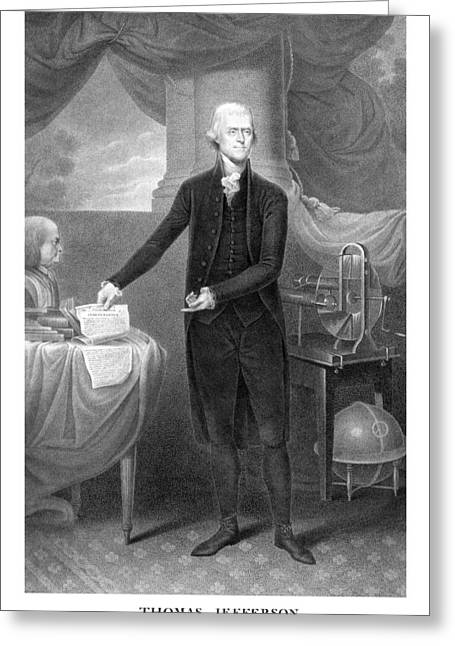 Us History Drawings Greeting Cards - Thomas Jefferson Greeting Card by War Is Hell Store