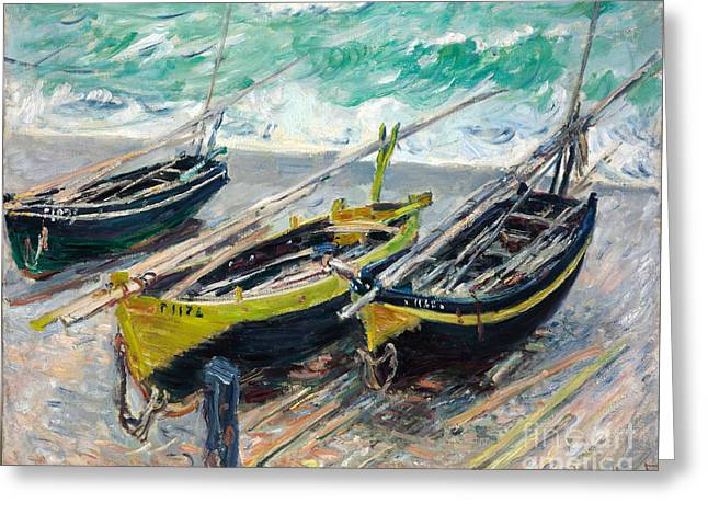 Vintage Painter Greeting Cards - Three Fishing Boats Greeting Card by Claude Monet