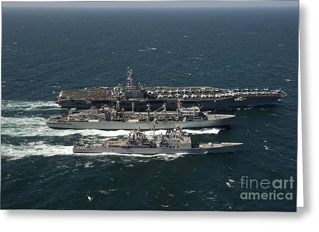 Carrier Greeting Cards - Underway Replenishment At Sea With U.s Greeting Card by Stocktrek Images