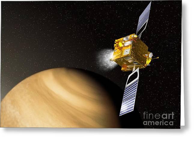 Braking Greeting Cards - Venus Express Mission, Artwork Greeting Card by David Ducros