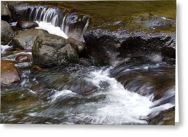 Beautiful Creek Greeting Cards - Water flowing Greeting Card by Les Cunliffe