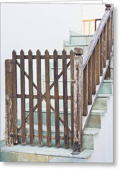 Stepping Stones Greeting Cards - Wooden gate Greeting Card by Tom Gowanlock