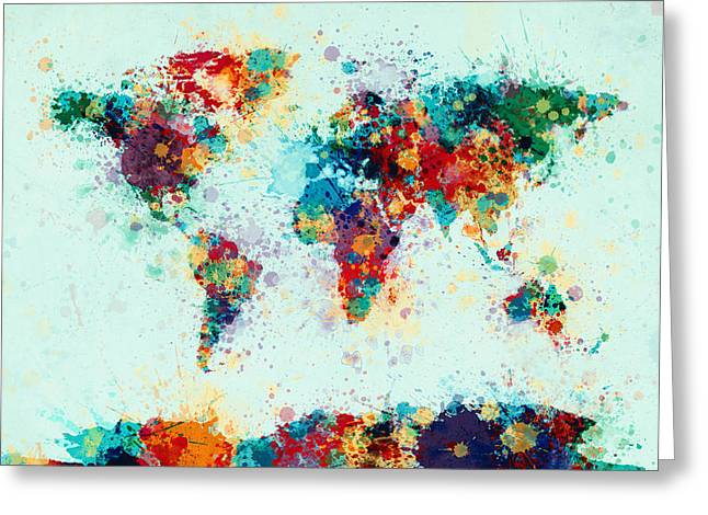 World Map Canvas Greeting Cards - World Map Paint Splashes Greeting Card by Michael Tompsett