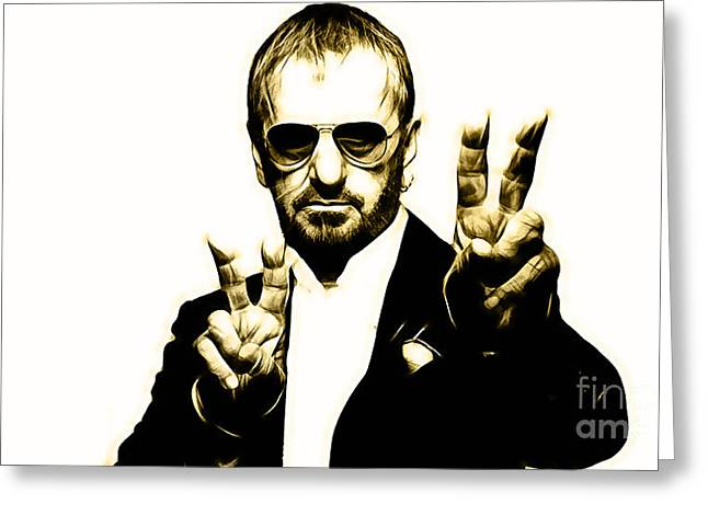 Rock Greeting Cards - Ringo Starr Collection Greeting Card by Marvin Blaine