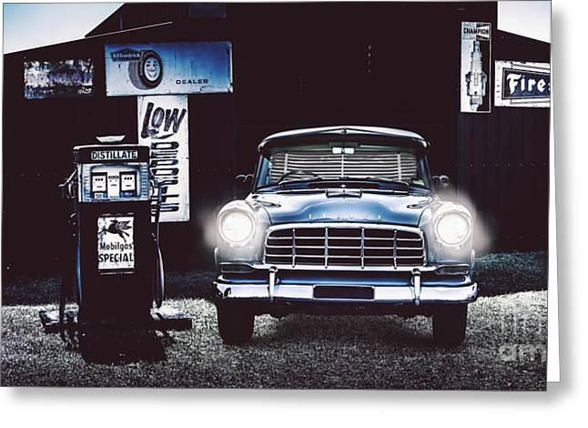 60s Australian Fc Holden Parked At Old Garage Greeting Card by Jorgo Photography - Wall Art Gallery