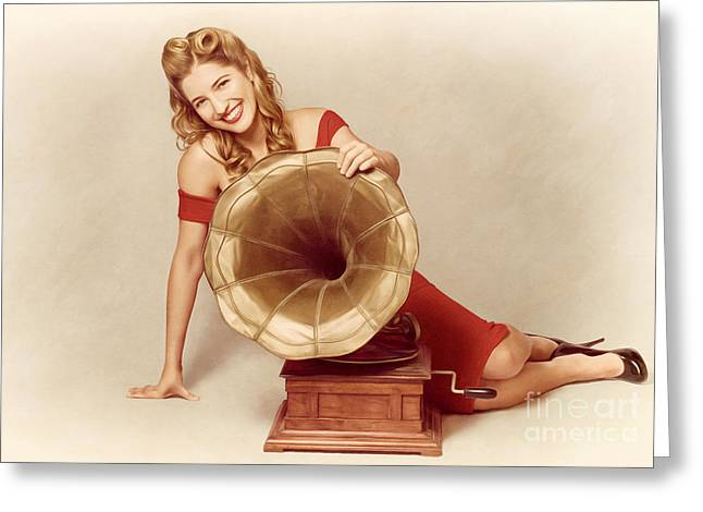 Endorsement Greeting Cards - 60s Pin Up Girl With Vintage Record Phonograph Greeting Card by Ryan Jorgensen