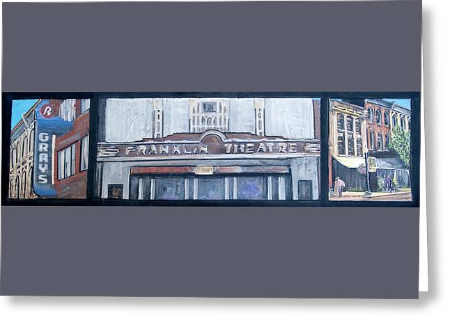 #62 Going To The Franklin Theatre Greeting Card by Alison Poland