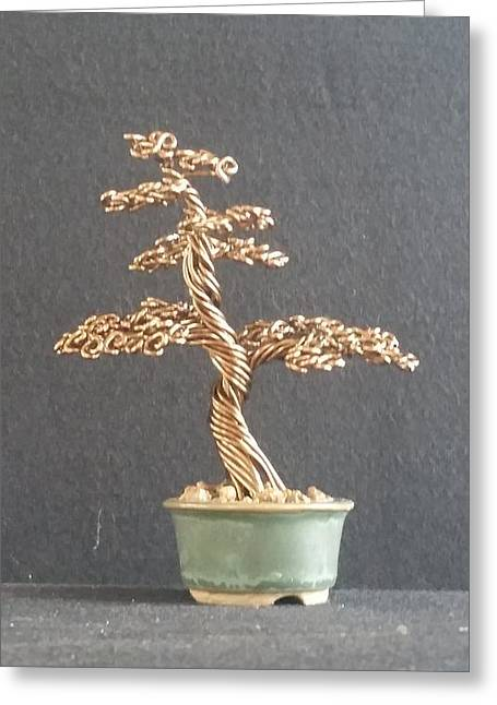 Etc. Sculptures Greeting Cards - #64 Bronze wire tree sculpture in a Ken To pot Greeting Card by Ricks  Tree Art