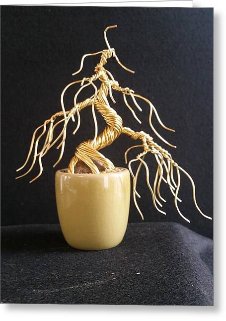 Etc. Sculptures Greeting Cards - #65 Weeping With Gold wire tree sculpture Greeting Card by Ricks  Tree Art