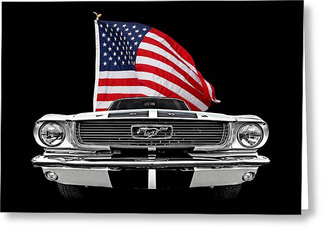 66 Mustang With U.s. Flag On Black Greeting Card by Gill Billington