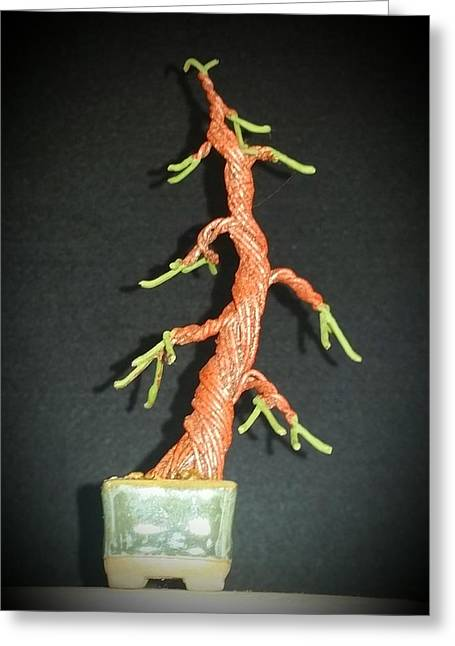Etc. Sculptures Greeting Cards - #67 Evergreen Wire Tree Sculpture Greeting Card by Ricks  Tree Art