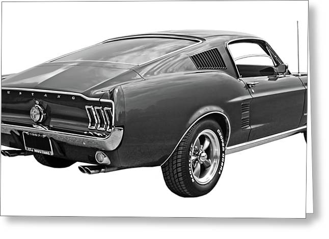 67 Greeting Cards - 67 Fastback Mustang in Black and White Greeting Card by Gill Billington