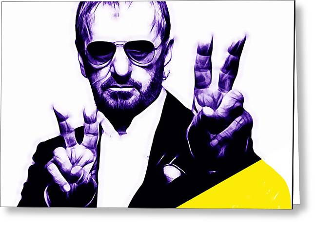 Recently Sold -  - Pop Mixed Media Greeting Cards - Ringo Starr Collection Greeting Card by Marvin Blaine