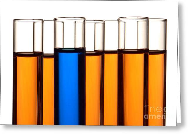 Medical Greeting Cards - Test Tubes in Science Research Lab Greeting Card by Olivier Le Queinec