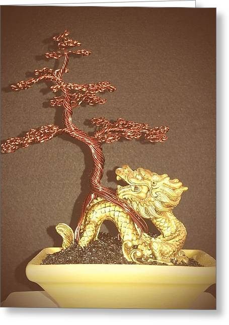 Etc. Sculptures Greeting Cards - #68 Dragon scene Wire Tree Sculpture Greeting Card by Ricks  Tree Art