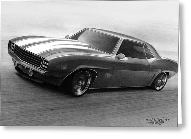 Graphite Drawing Greeting Cards - 69 Camaro Greeting Card by Tim Dangaran