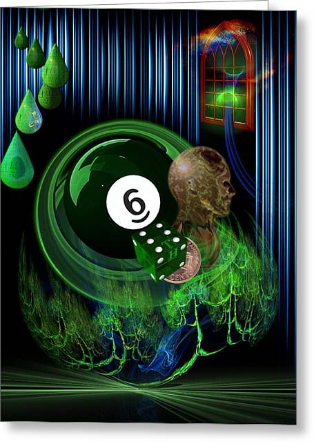 8ball Greeting Cards - 6TH Sense Blues Greeting Card by Draw Shots