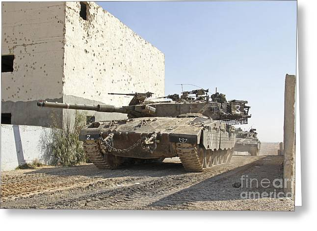 Urban Warfare Greeting Cards - An Israel Defense Force Merkava Mark Ii Greeting Card by Ofer Zidon