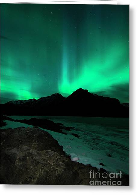 Aurora Lake Greeting Cards - Aurora at Minnewanka Greeting Card by Ginevre Smith
