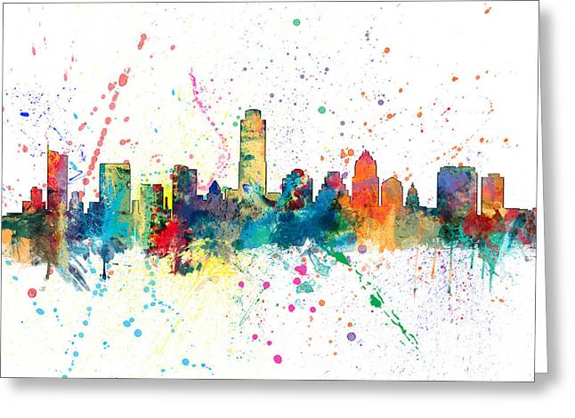 United States Greeting Cards - Austin Texas Skyline Greeting Card by Michael Tompsett