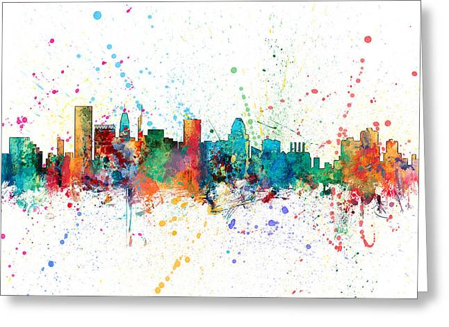 Maryland Greeting Cards - Baltimore Maryland Skyline Greeting Card by Michael Tompsett