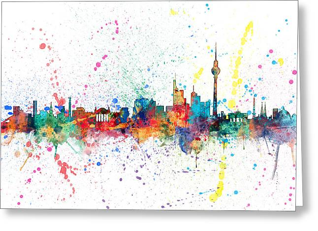 Berlin Germany Greeting Cards - Berlin Germany Skyline Greeting Card by Michael Tompsett