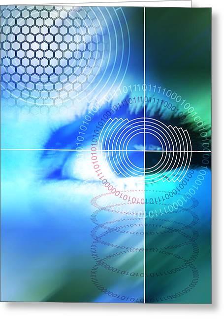 Biometrics Greeting Cards - Biometric Eye Scan Greeting Card by Pasieka