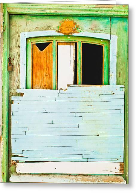 Boarded Up Window Greeting Card by Tom Gowanlock