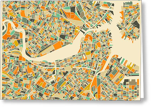 Map Greeting Cards - Boston Map Greeting Card by Jazzberry Blue